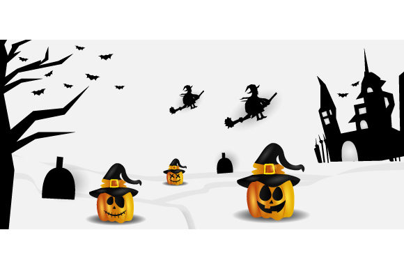 Halloween Black and White Paper Cut Graphic Backgrounds By Muhammad Rizky Klinsman