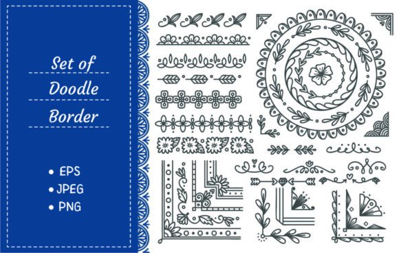 Hand Drawn Border and Frame Graphic Illustrations By Big Barn Doodles