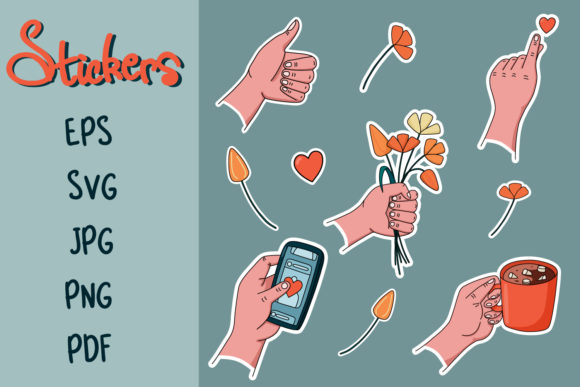 Hands with Gestures, Stickers Graphic Illustrations By nastiatrel