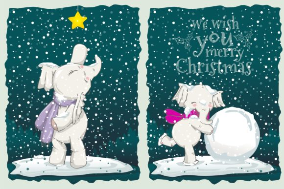 Happy Animal Playing at Christmas Snow Graphic Illustrations By onoborgol