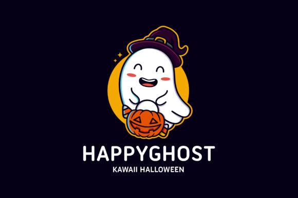 Happy Ghost Logo Template Graphic Logos By vectorwithin