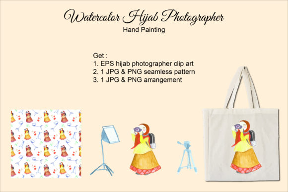 Hijab Photographer Watercolor Graphic Print Templates By miyanuraisah