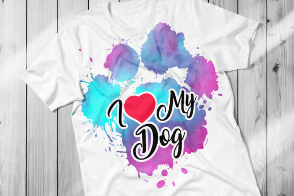 Print on Demand: I Love My Dog PNG Clip Art Graphic Crafts By DTCreativeLab