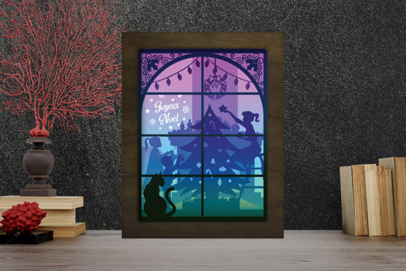 Joyeux Noel 12 Light Box Shadow Box Graphic 3D Shadow Box By LightBoxGoodMan