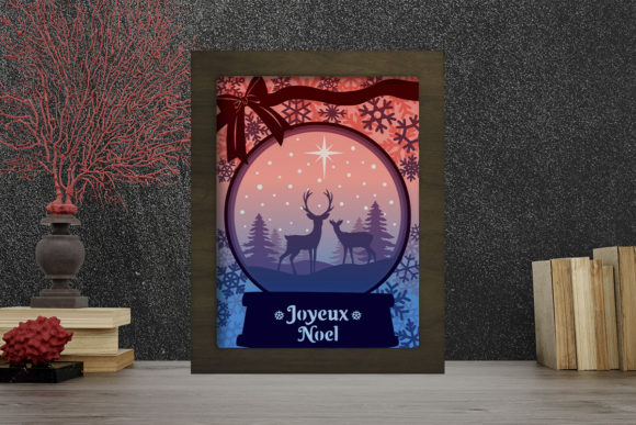 Joyeux Noel 15 Light Box Shadow Box Graphic 3D Shadow Box By LightBoxGoodMan