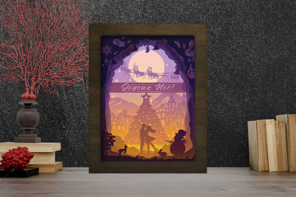 Joyeux Noel 2 Light Box Shadow Box Graphic 3D Shadow Box By LightBoxGoodMan