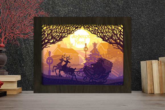 Joyeux Noel 8 Light Box Shadow Box Graphic 3D Shadow Box By LightBoxGoodMan