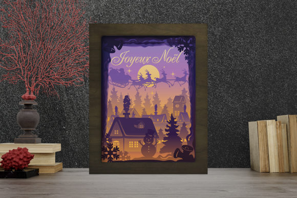 Joyeux Noel 9 Light Box Shadow Box Graphic 3D Shadow Box By LightBoxGoodMan
