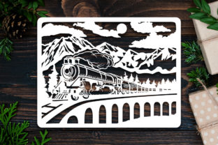 Print on Demand: Kirigami Old Train Paper Cut Graphic 3D Shadow Box By LightBoxGoodMan