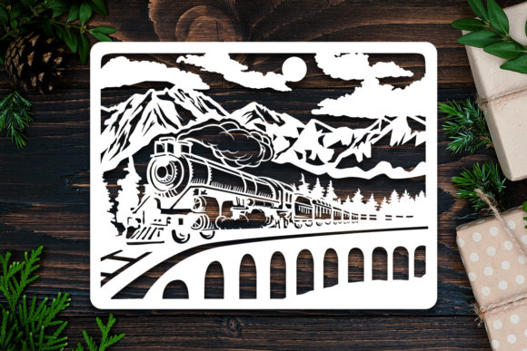Kirigami Old Train Paper Cut Graphic 3D Shadow Box By LightBoxGoodMan