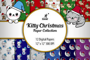 Print on Demand: Kitty Paper Christmas Graphic Backgrounds By Oscar Mattey