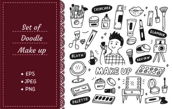 Make Up Artist Equipments Doodle Graphic Illustrations By Big Barn Doodles