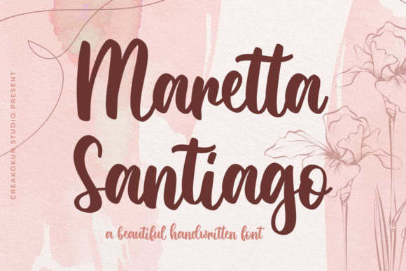 Print on Demand: Maretta Santiago Script & Handwritten Font By creakokunstudio