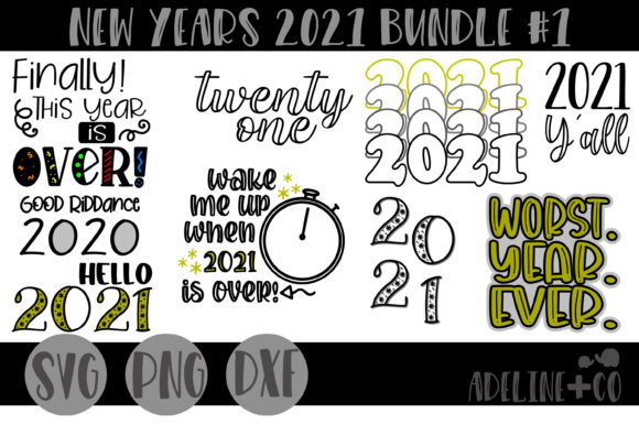 New Years 2021 Bundle #1 Graphic Crafts By adelinenco
