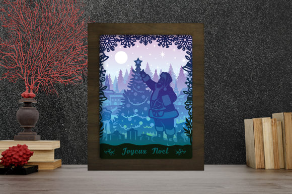 Pere Noel 3 Light Box Shadow Box Graphic 3D Shadow Box By LightBoxGoodMan