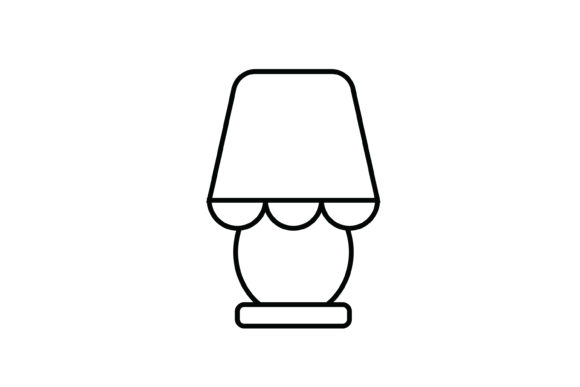 Print on Demand: Pink Night Lamp out Line Livingroom Icon Graphic Icons By meandmydate