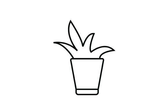 Print on Demand: Plant out Line Livingroom Icon Graphic Icons By meandmydate