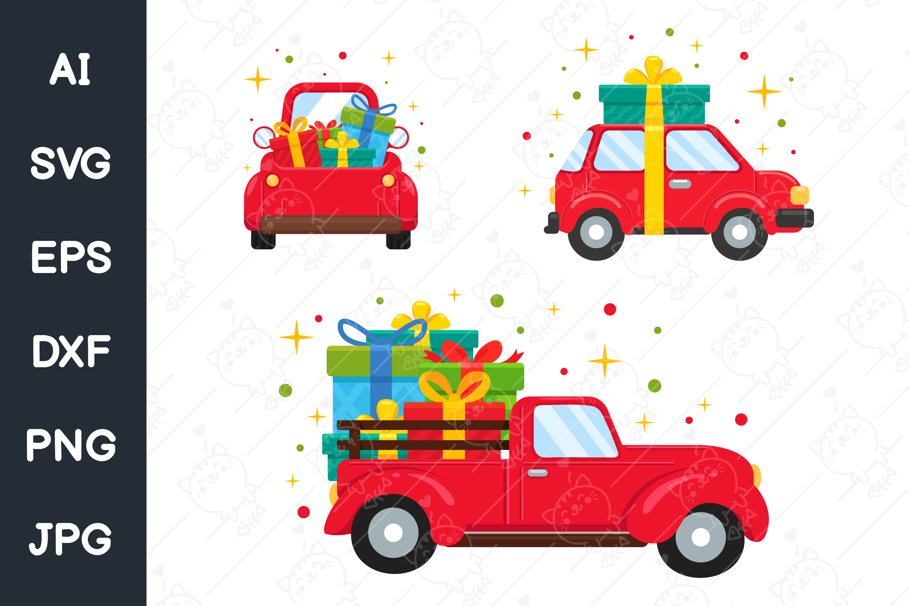 Red Christmas Car Carrying Gift Boxes Graphic By Crstocker Creative Fabrica