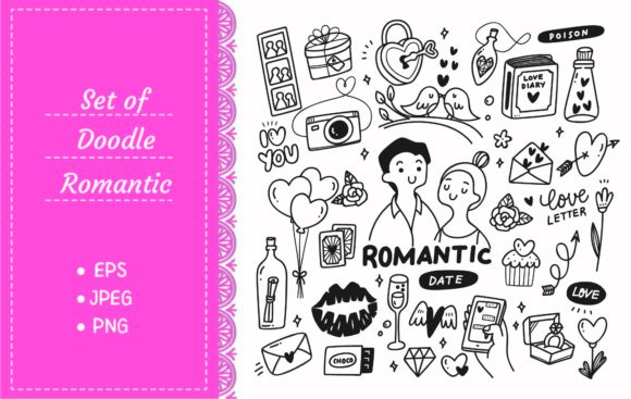Romantic Couple with Cute Doodles Graphic Illustrations By Big Barn Doodles