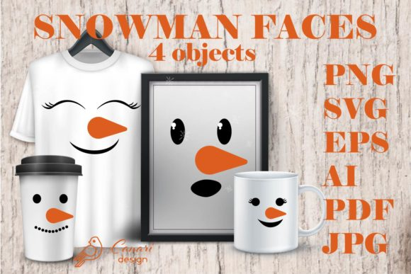 SNOWMAN FACES Collection Graphic Illustrations By sombrecanari