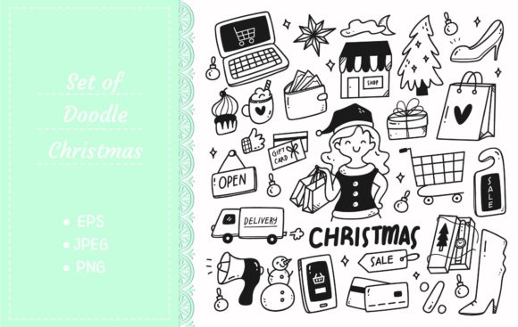 Set of Christmas Sale Doodles Graphic Illustrations By Big Barn Doodles