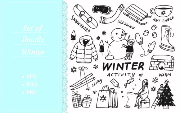 Set of Winter Activities in Doodle Style Graphic Illustrations By Big Barn Doodles