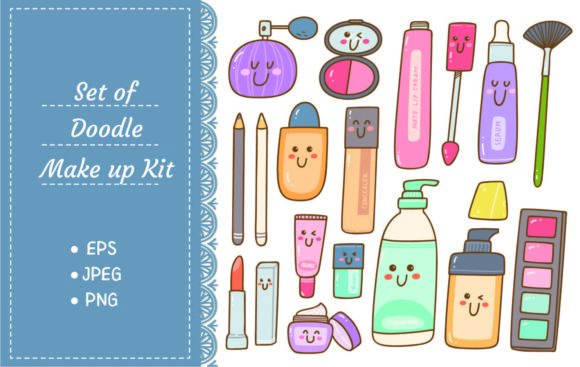 Set of Make Up Kit Kawaii Doodles Graphic Illustrations By Big Barn Doodles