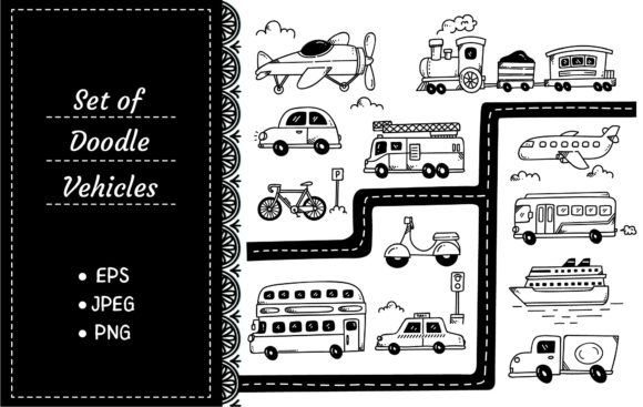 Set of Vehicle Doodles Isolated Graphic Illustrations By Big Barn Doodles
