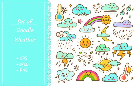 Set of Weather Doodles Vector Graphic Illustrations By Big Barn Doodles