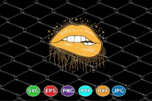 Print on Demand: Shiny Dripping Lips - Golden Glitter Graphic Crafts By Amitta