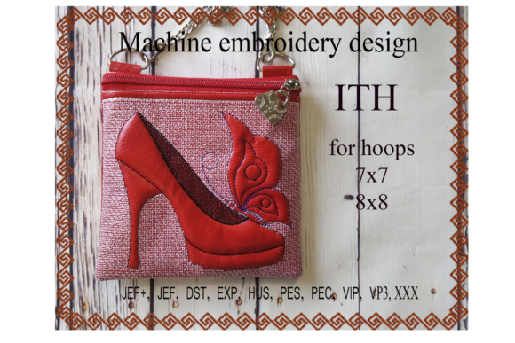 Shoe with Butterfly Zip Bag - in the Hoop Embroidery