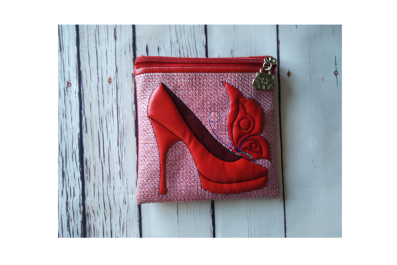 Shoe with Butterfly Zip Bag - in the Hoop Embroidery Download