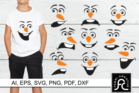 Print on Demand: Snowman Faces SVG Grafik Plotterdateien von Febri Creative