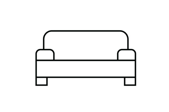 Print on Demand: Sofa out Line Livingroom Icon Graphic Icons By meandmydate