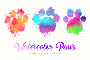 Print on Demand: Splash Paw Watercolor Sublimation Design Graphic Crafts By DTCreativeLab