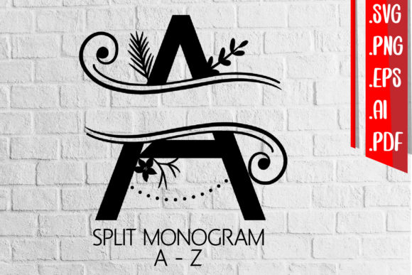 Split Monogram Letter a-Z Svg Cut Files Graphic Crafts By assalwaassalwa