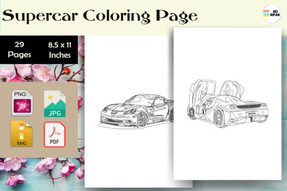 Print on Demand: Supercar Coloring Page - KDP Graphic Coloring Pages & Books By Sei Ripan