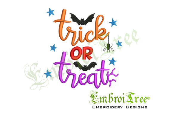 Trick or Treat Design Halloween Embroidery Design By EmbroiTree
