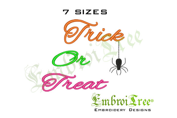 Trick or Treat Machine Design Halloween Embroidery Design By EmbroiTree