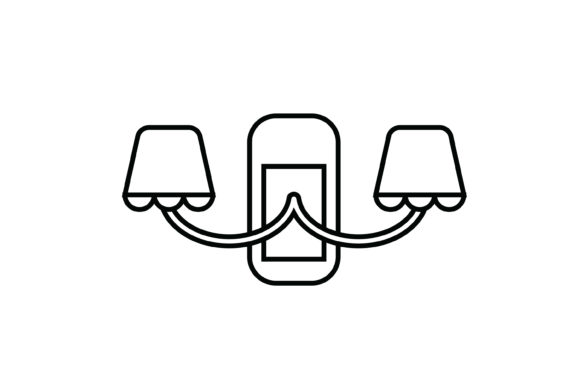 Print on Demand: Two Lamp Wall Lamp out Line Icon Graphic Icons By meandmydate