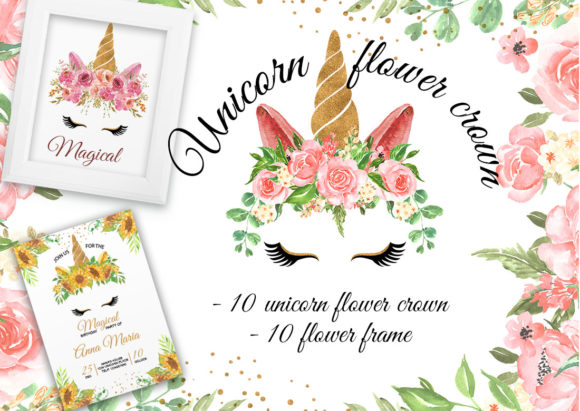Unicorn Flower Crown & Frame Watercolor Graphic