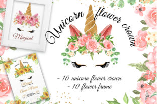 Print on Demand: Unicorn Flower Crown & Frame Watercolor Graphic Illustrations By OrchidArt