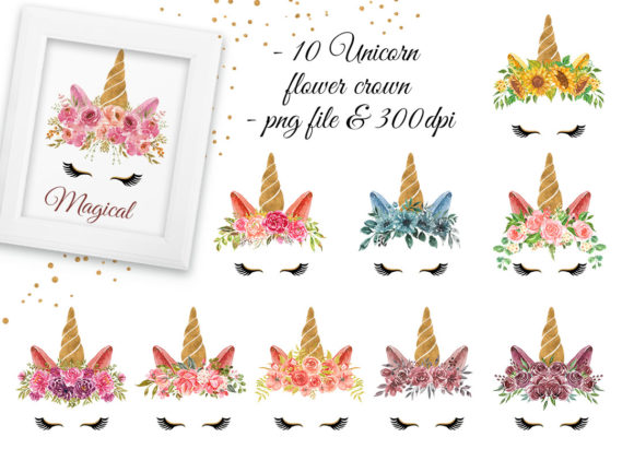 Unicorn Flower Crown & Frame Watercolor Graphic Download