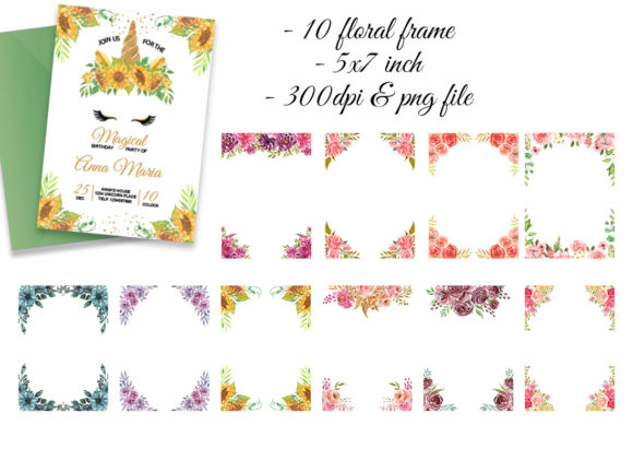 Unicorn Flower Crown & Frame Watercolor Graphic Item