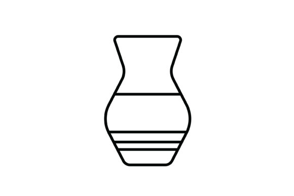 Print on Demand: Vase out Line Livingroom Icon Graphic Icons By meandmydate
