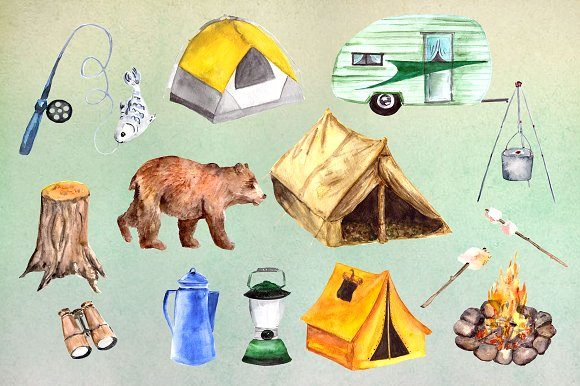 Watercolor Camping Clip Art Set Graphic Illustrations By tatibordiu