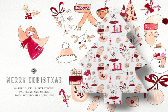 Print on Demand: Watercolor Clipart - Merry Christmas Graphic Illustrations By webvilla