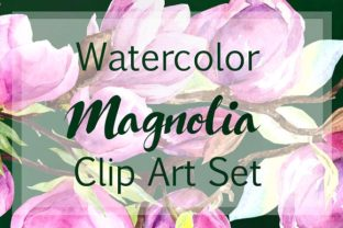 Print on Demand: Watercolor Magnolia Clip Art Set Graphic Illustrations By tatibordiu