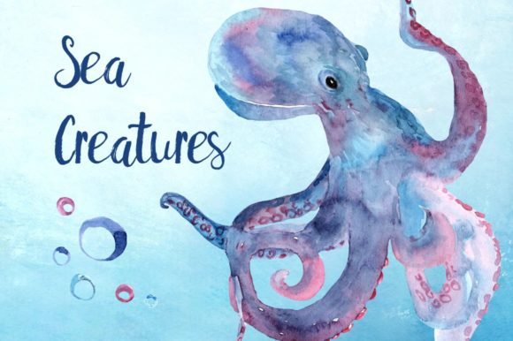 Watercolor Sea Creatures Clipart Set Graphic Illustrations By tatibordiu