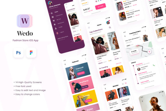 Print on Demand: Wedo - Fashion Store IOS App Design UI Graphic UX and UI Kits By peterdraw